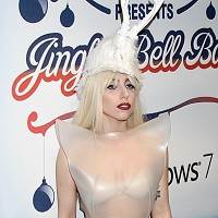 Lady Gaga White Hat Dress